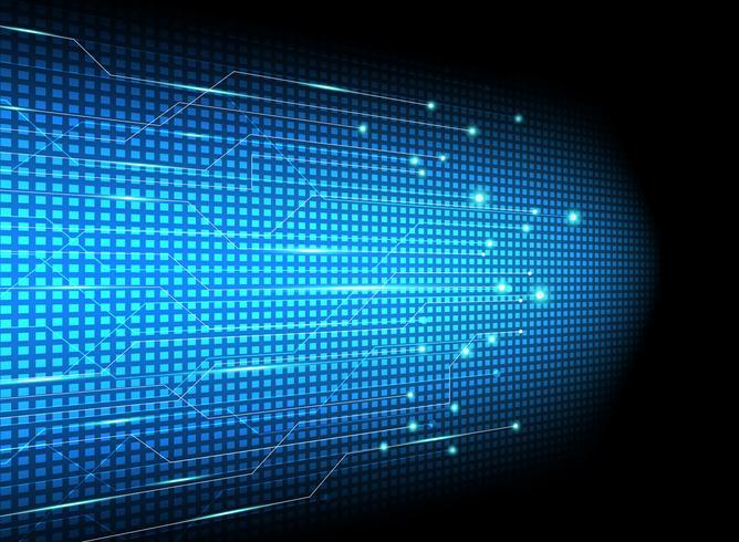 Inovação abstrata dos dados de transferência da tecnologia no fundo azul.