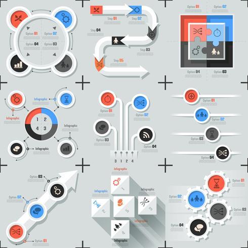 Set med 9 platt minimala infographics