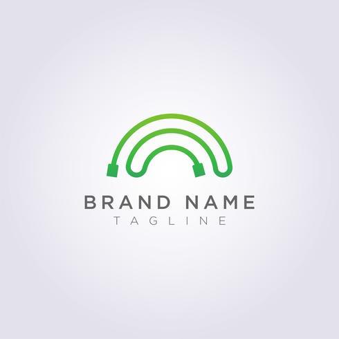 Concevez un logo câblé aux couleurs de l'arc-en-ciel pour votre entreprise ou votre marque vecteur