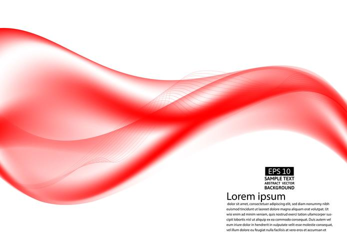 Wave red transparent abstract on white background with copy space, vector illustration EPS10
