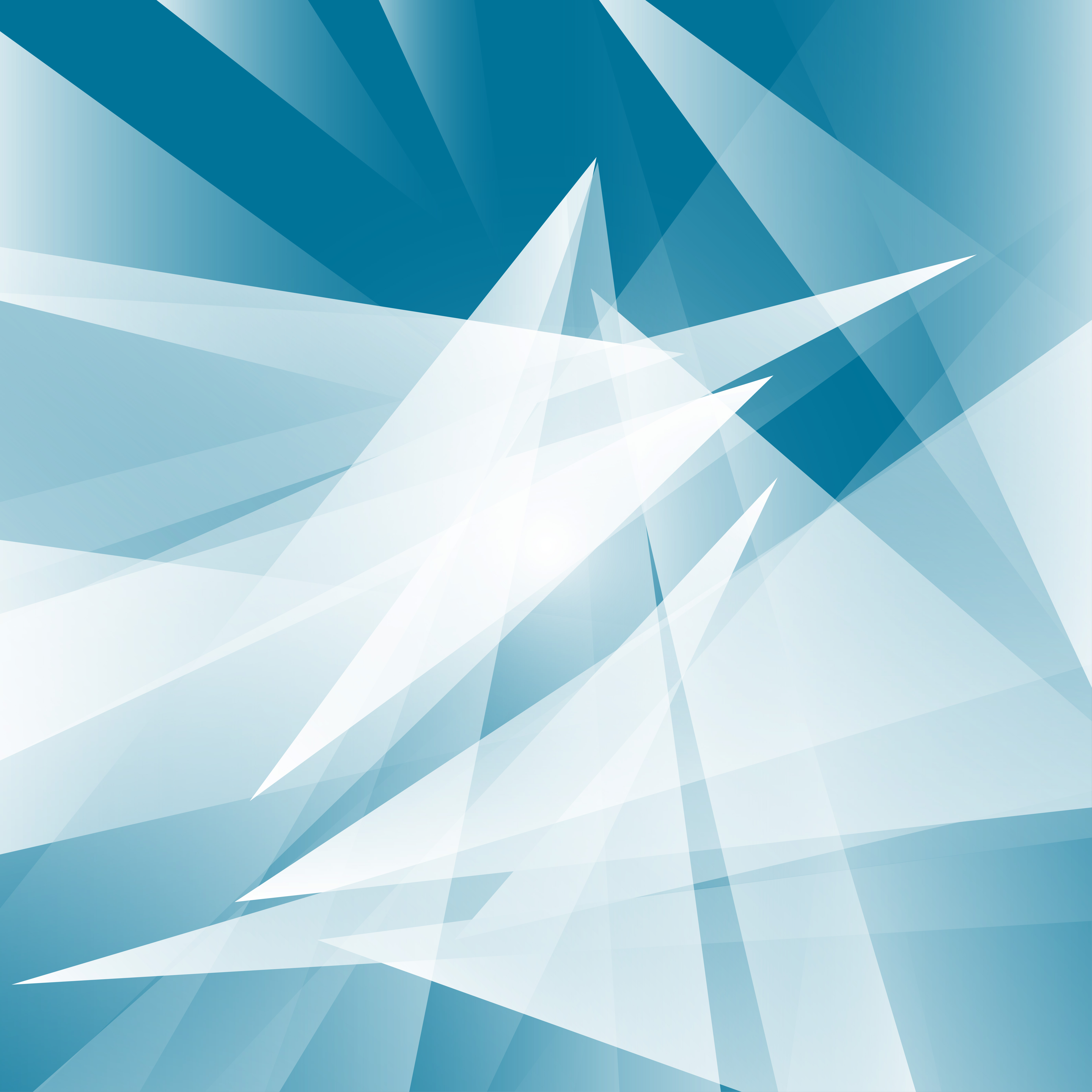 Abstract Flowers Logos: Blue Color Geometric. Triangle Shape Abstract Vector