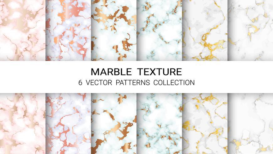 Marmorstruktur, Premium uppsättning vektormönster Samling, Abstrakt bakgrundsmall.