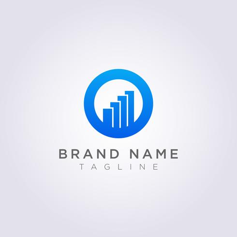 Logo design circle combination with bar charts for your Business or Brand