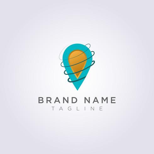 Linjebloggdesignen omger destinationssymbolen för ditt företag eller varumärke