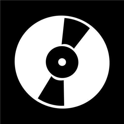 Retro illustrazione di vettore dell'icona del disco di vinile