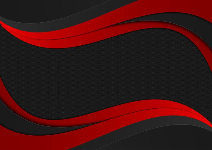 Textura geométrica da onda da cor preta e vermelha. Fundo abstrato do vetor