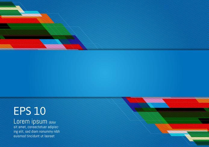 Resumo de design moderno geométrico multicolorido sobre fundo azul, com espaço de cópia, ilustração vetorial