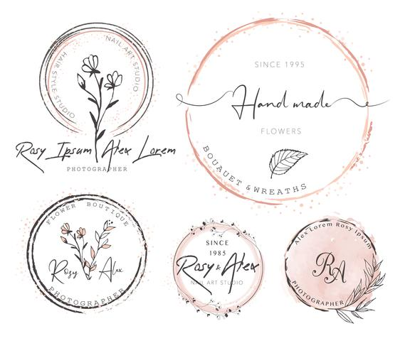 Hand Drawn Leaf Wreath Logo Design