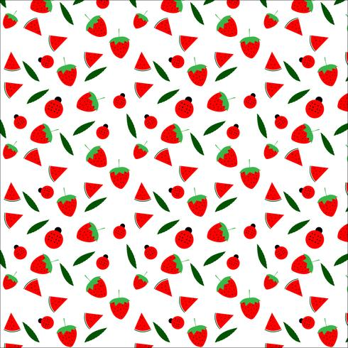 Frukt och nyckelpiga sömlös mönster design på vit bakgrund, vektor illustration