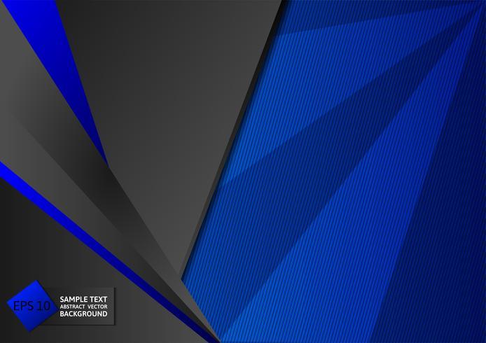 Abstrait géométrique couleur bleu et noir avec espace copie, illustration vectorielle