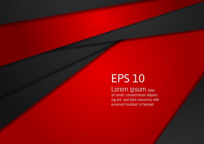 Resumo geométrico vermelho e preto no design moderno de fundo com espaço de cópia, eps10 de ilustração vetorial