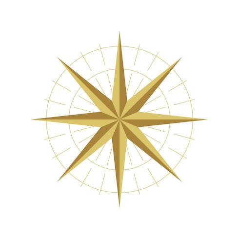 Étoile d'or Compass Rose Logo Illustration Modèle de conception. Vecteur EPS 10.