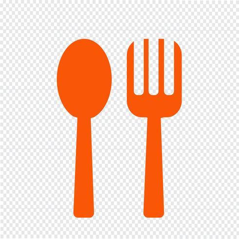 Icono de cuchara y tenedor ilustración vectorial
