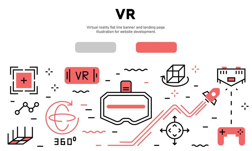 Virtual reality flat line banner and landing page. Illustration for website development