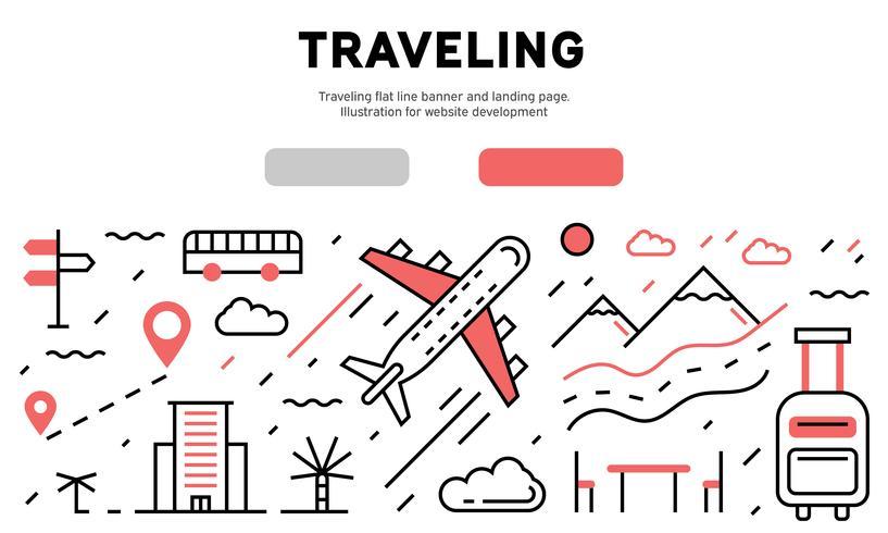 Banner e pagina di destinazione della linea piatta in viaggio. Illustrazione per lo sviluppo di siti Web