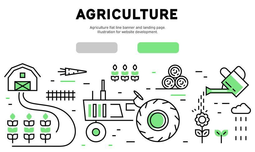 Bandeira de linha plana de agricultura e página de destino. Ilustração para desenvolvimento de sites vetor