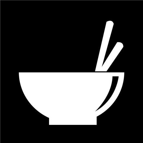 Nudelskål ikon vektor illustration