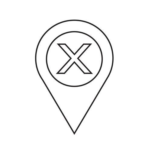 Illustrazione di vettore dell'icona del puntatore del puntatore della mappa