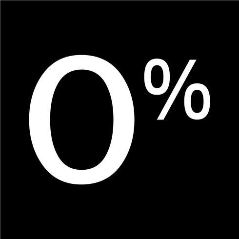 Zéro pour cent signe icône illustration vectorielle vecteur
