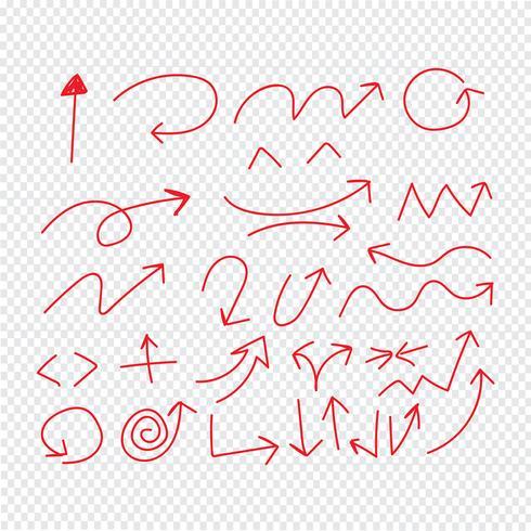 Hand ritning Doodle pilar uppsättning ikon vektor illustration