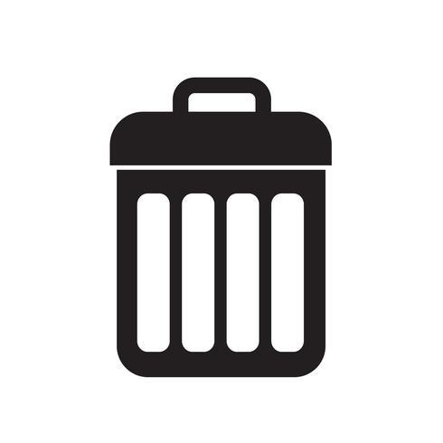 Ilustración de vector de icono de cubo de basura