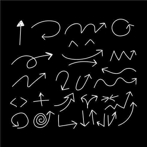 Le frecce di scarabocchio del disegno della mano hanno messo l'illustrazione di vettore dell'icona