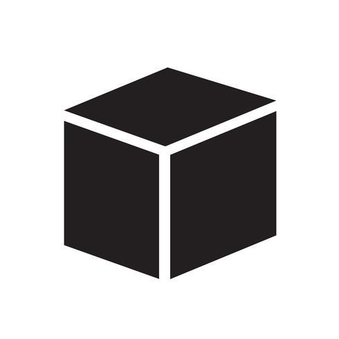 Ilustración de vector de icono de cubo