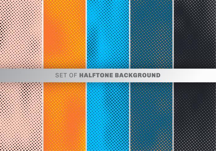 Ensemble de modélisme de points sur fond orange, bleu, noir. Collection de papiers peints design à pois.
