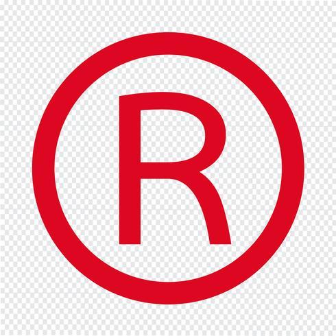 Illustrazione di vettore dell'icona di marchio registrato