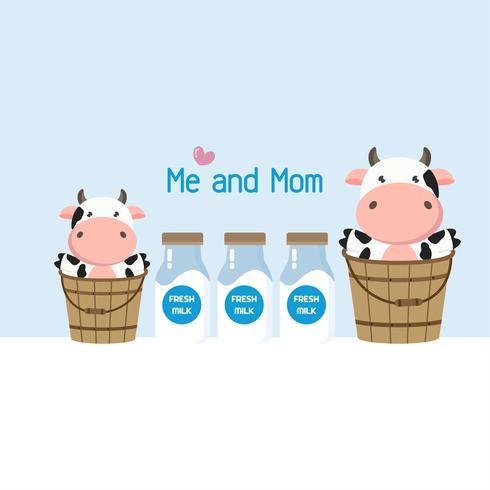 Mamma och bebisko i mjölkhink. Söt gård djur tecknad.