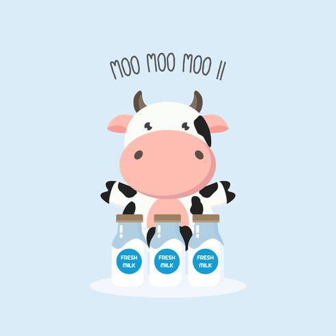 Söt ko med mjölkflaskor. Vektor illustration