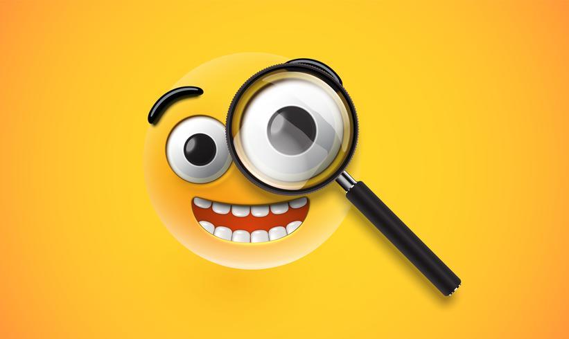 Emoticon detalhada alta amarela com um magnifyer realista, ilustração vetorial