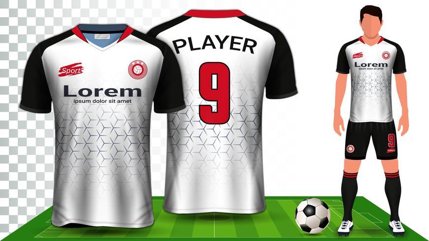 Soccer Jersey, Sport Shirt or Football Kit Uniform Presentation Mockup Template. vector