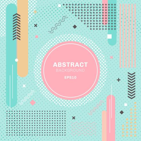 I pastelli astratti colorano la priorità bassa verde decorativa della composizione geometrica degli elementi. Forma rotonda e motivo a mezzitoni con etichetta circolare.