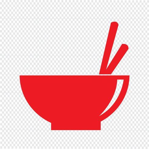 Ilustración de vector de icono de tazón de fideos