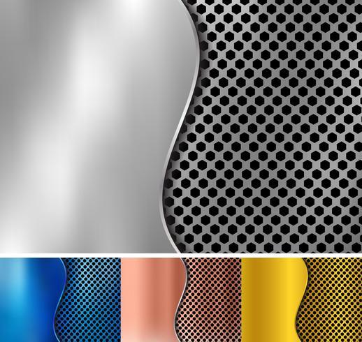 Conjunto de oro abstracto, cobre, plata, metal azul metálico de fondo de textura de patrón hexagonal con hierro de hoja curva. Textura geométrica vector