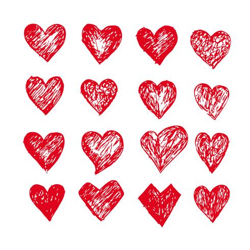 Hand drawn hearts icon vector