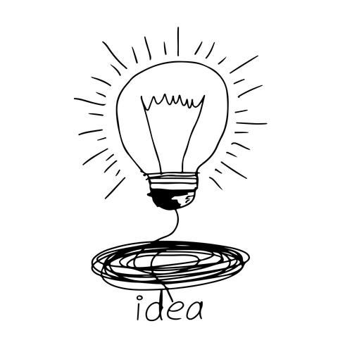 Icona della lampadina disegnata a mano