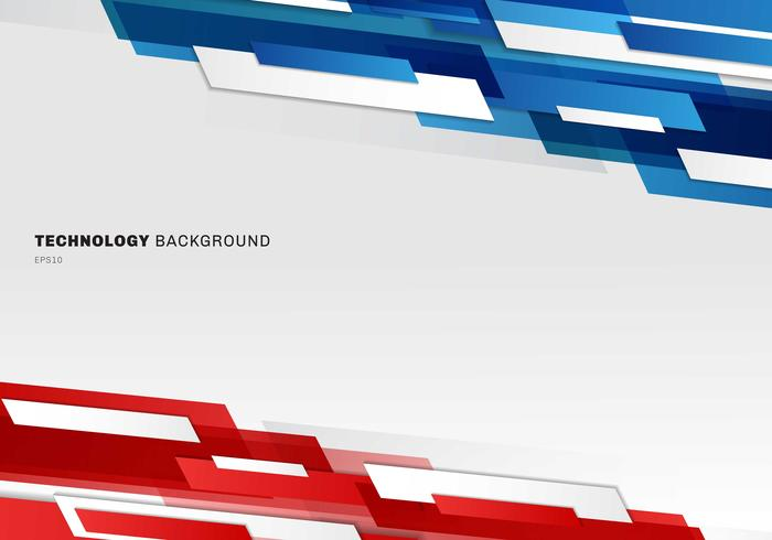 Abstract header blue, red and white shiny geometric shapes overlapping moving technology futuristic style presentation background with copy space.