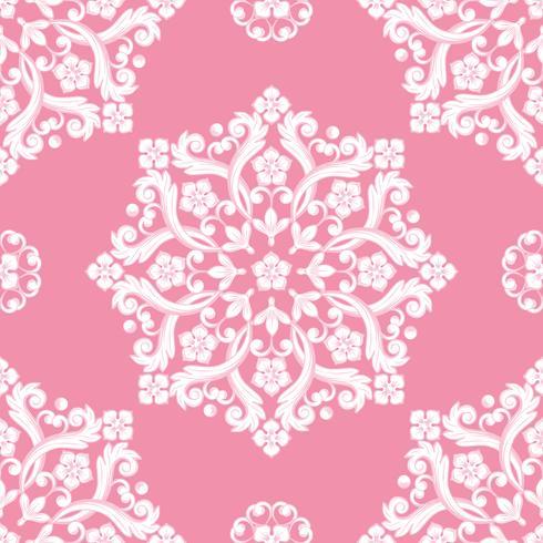 Patrón de damasco sin fisuras. Textura rosa