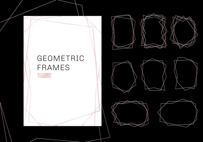 Pink gold geometric polyhedron frames collection. luxury templates art deco style for wedding invitation. Decorative patterns modern abstract elements.