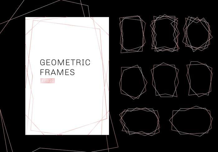 Colección de marcos en poliedro geométrico en oro rosa. Plantillas de lujo de estilo art deco para invitaciones de boda. Patrones decorativos modernos elementos abstractos. vector