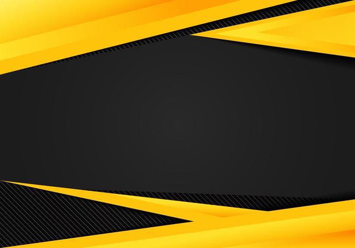 Los triángulos geométricos del amarillo abstracto de la plantilla ponen en contraste el fondo negro. Puede utilizar para diseño corporativo, folleto de portada, libro, banner web, publicidad, póster, folleto, folleto