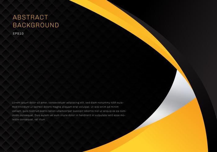 Il fondo astratto delle curve di affari corporativi di contrasto giallo e nero del modello con i quadrati modella la struttura e copia lo spazio. È possibile utilizzare per brochure di copertina, poster, flyer, depliant, banner web, ecc.