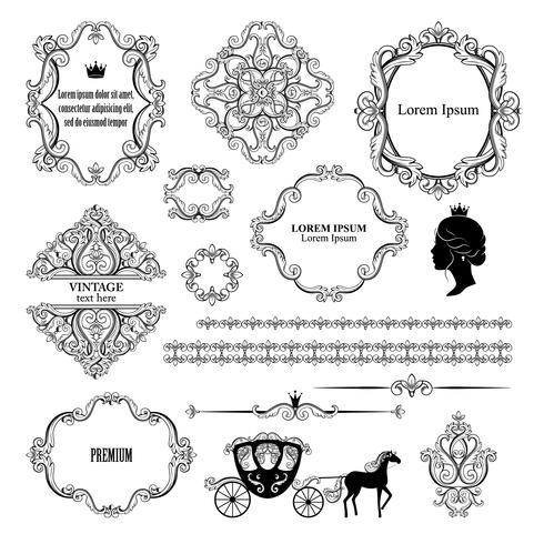 Mega set collections of vintage design elements. vector