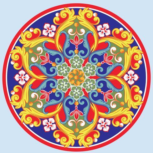 Mandala decorativa redonda étnica colorida. Ilustração vetorial vetor