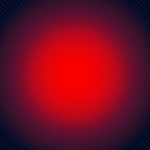 Technology digital concept futuristic red neon radial light burst effect on dark background. Dots pattern elements circles halftone style.