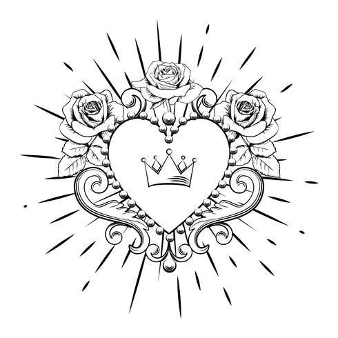 Corazón ornamental hermoso con la corona y las rosas en color negro aisladas en el fondo blanco. Ilustración vectorial