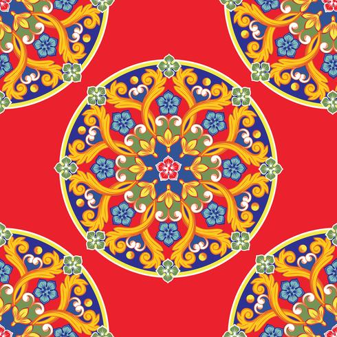 Fond transparent Mandala d'ornement rond coloré ethnique sur le rouge. Illustration vectorielle vecteur