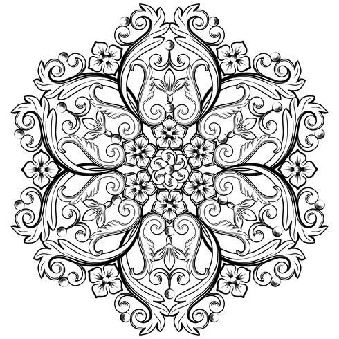 Bel élément ornemental rond pour le design en couleurs noir et blanc. Illustration vectorielle